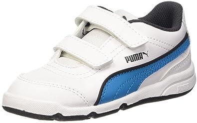 187367 - Chaussures Enfant Pumas Synthétique Unisexe, Automne / Hiver Enfants Unisexe, Bianco Couleur / Bleu Atomique, Taille 6