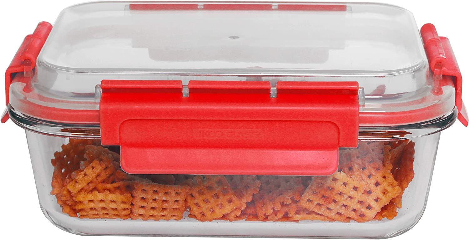 Home Basics 35 oz. Rectangle Leak/Spill Proof Borosilicate Glass Food, Dishwasher Safe Meal Prep Storage Container with Air-Tight Plastic Lid, Red