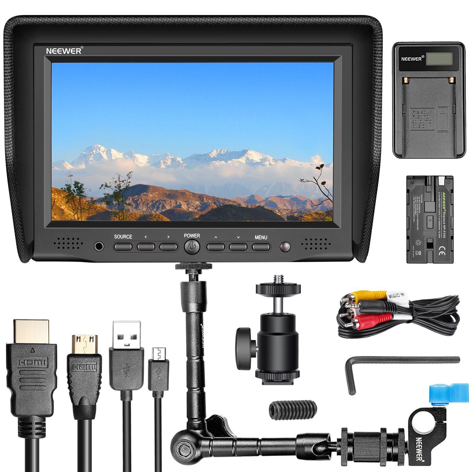 Neewer NW-708M 7 inches On-Camera Field Monitor Kit:800x480 High Resolution IPS Screen Monitor, 11 inches Magic Arm with Rod Clamp, Battery Charger, Replacement Battery for Sony F550 by Neewer