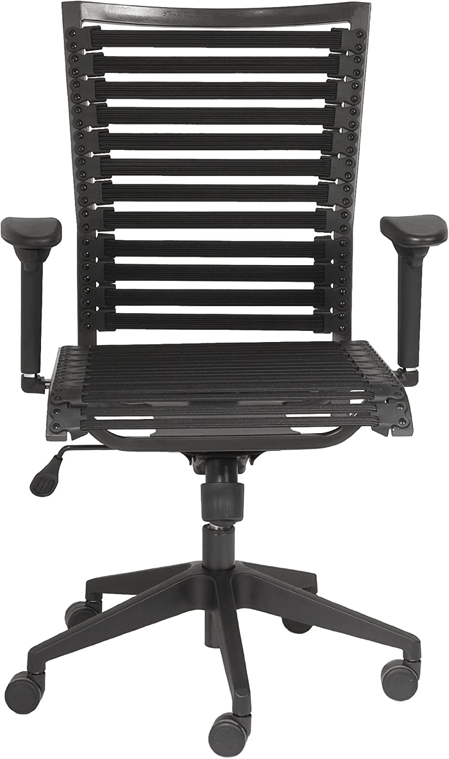 Euro Style Pro Flat Bungie High Back Adjustable Office Chair with Adjustable Arms, Black Bungies with Graphite Black Frame