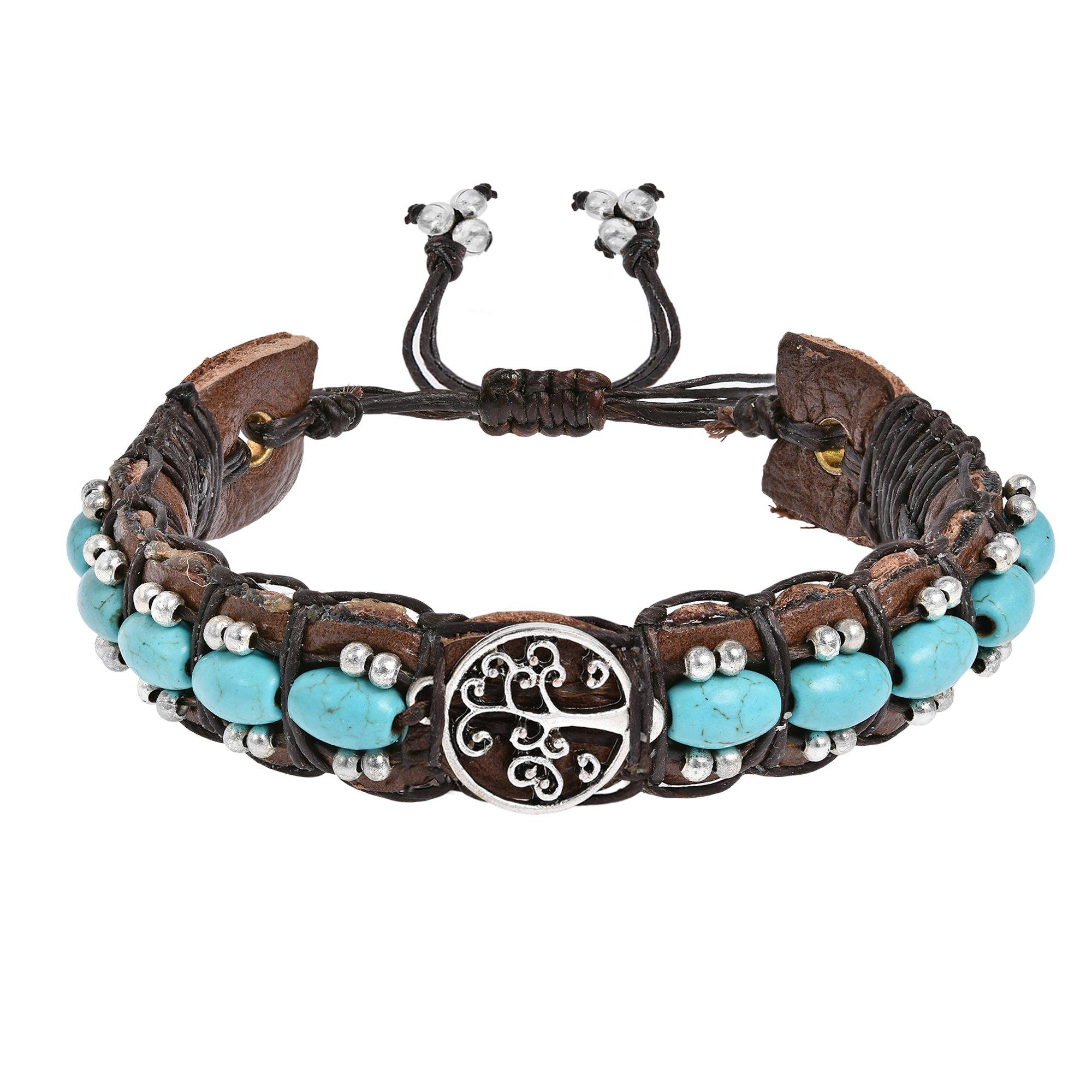 AeraVida Tree of Life Simulated Turquoise Rolls Leather Adjustable Wrist Pull Bracelet