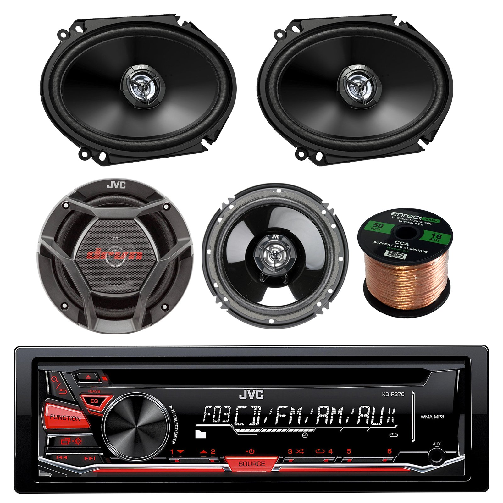 JVC KD-R370 CD/MP3 AM/FM Radio Player Car Receiver Bundle Combo With 2x DR6820 300-Watt 6x8'' Inch Vehicle Coaxial Speakers + 2x DR620 6.5'' Inch 2-Way Audio Speakers + Enrock 50 Feet 16-Gauge Wire by JVCAudioBundle
