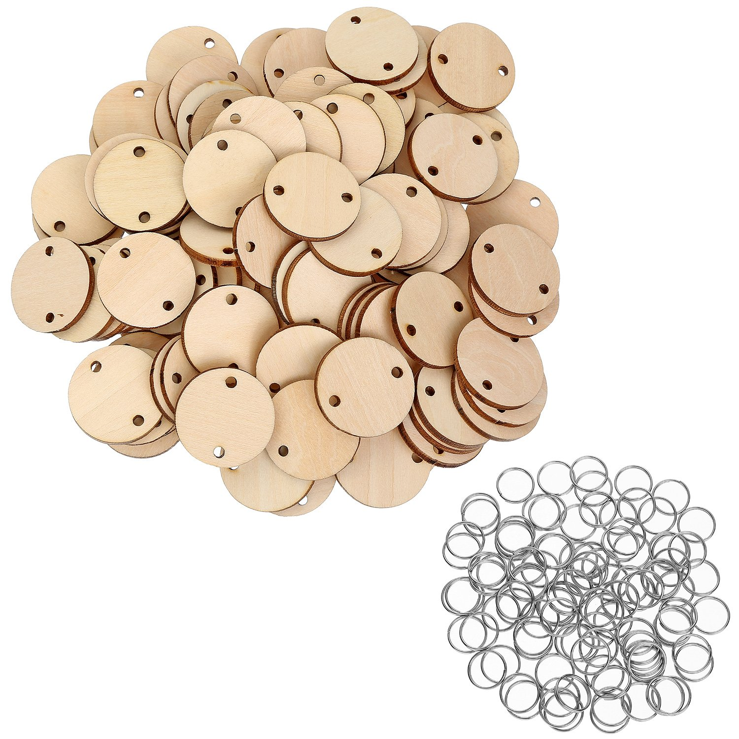 Bememo 100 Pieces Round Wooden Discs with Holes Birthday Board Tags and 100 Pieces 15 mm Rings for Arts and Crafts 3CM