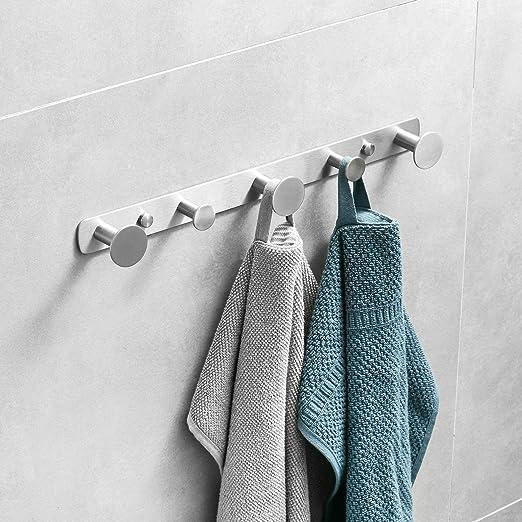 Creativo colgador de toallas 5 ganchos para baño de acero ...