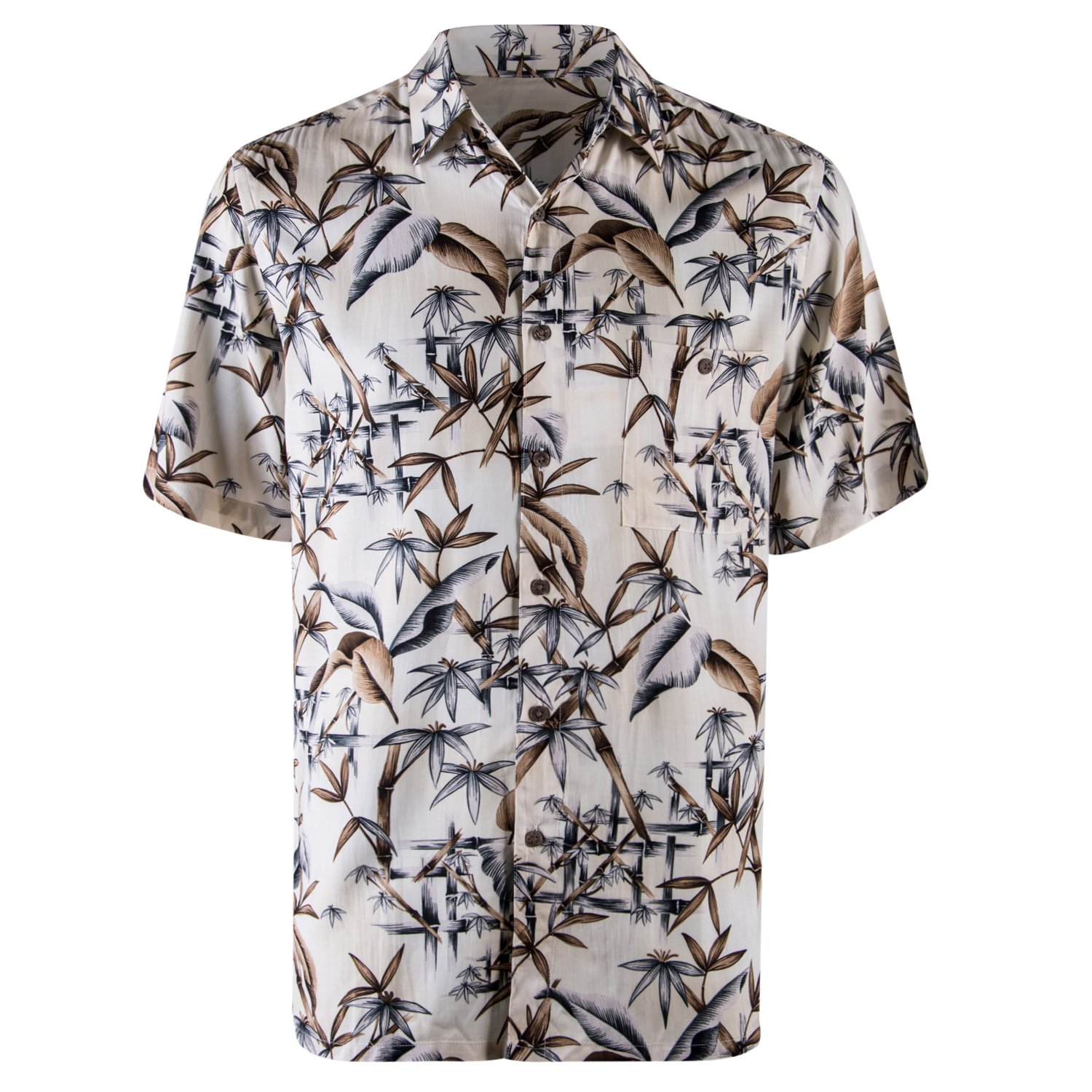8e7f933e9594 Galleon - Campia Men s Rayon Print Shirt (Natural 17