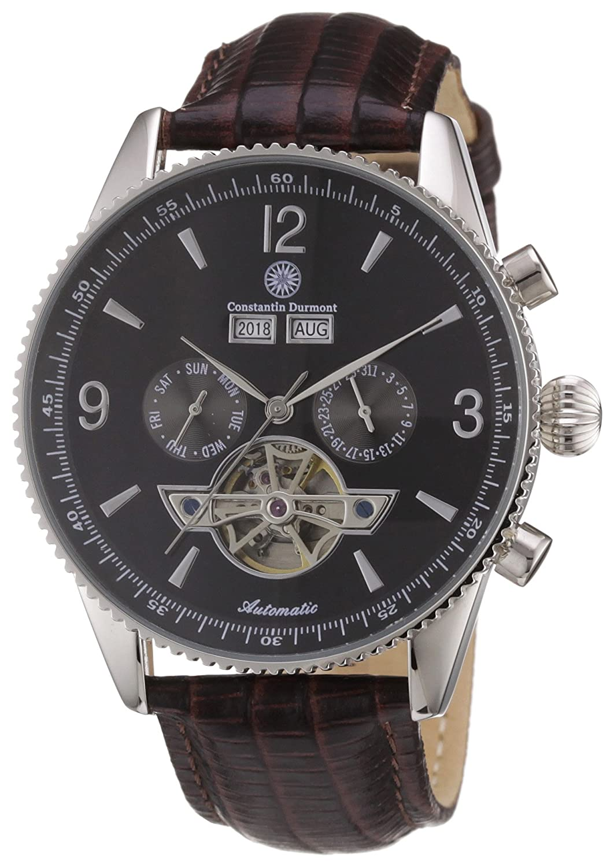 Constantin Durmont CD-TRAV-AT-LT-STST-BKBR - Reloj analógico automático para Hombre con Correa de Piel, Color marrón