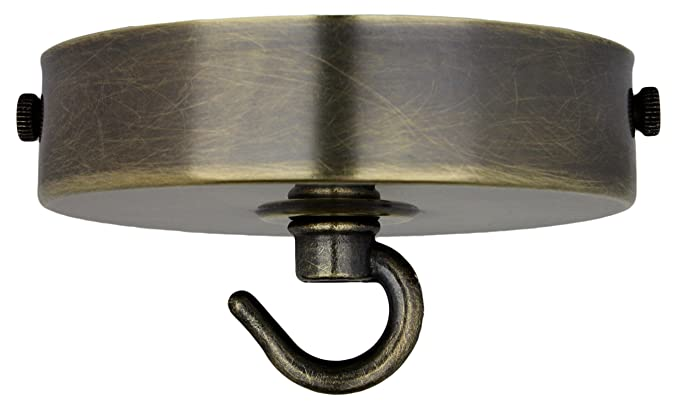 Art Deco Styled Hook for Ceiling Rose and Bulb Holder in Antique Brass Finish
