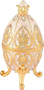 Furuida Trinket Box with Hinged White Faberge Egg Enameled Jewelry Box Classic Ornaments Metal Craft Gift for Home Decor