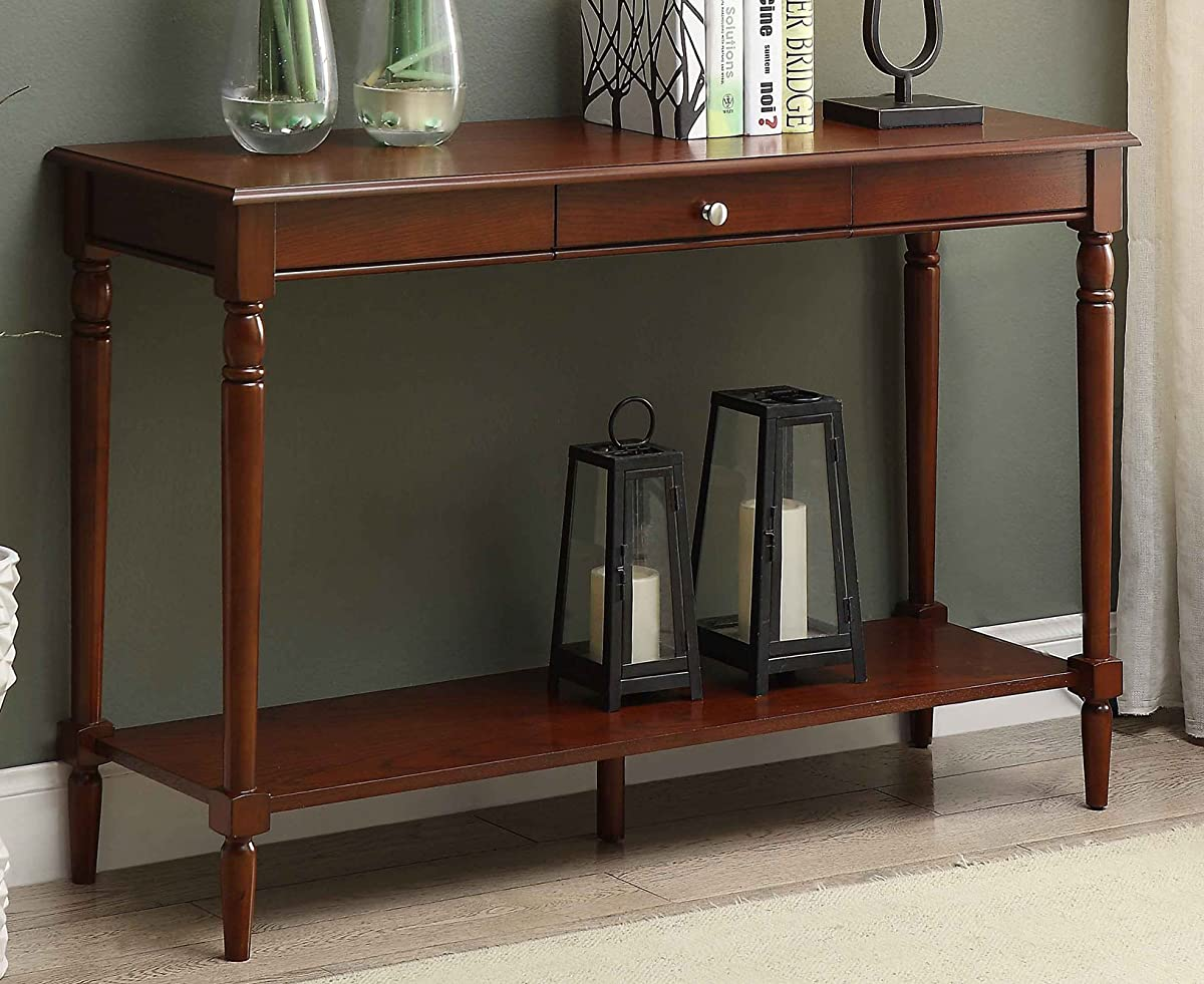 Convenience Concepts 6042187ES French Country Console Table Drawer and Shelf, Espresso