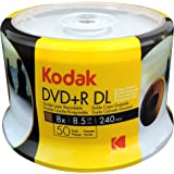 KODAK DVD R DL 8x 8.5GB 50-Pack Cakebox White Inkjet Printable