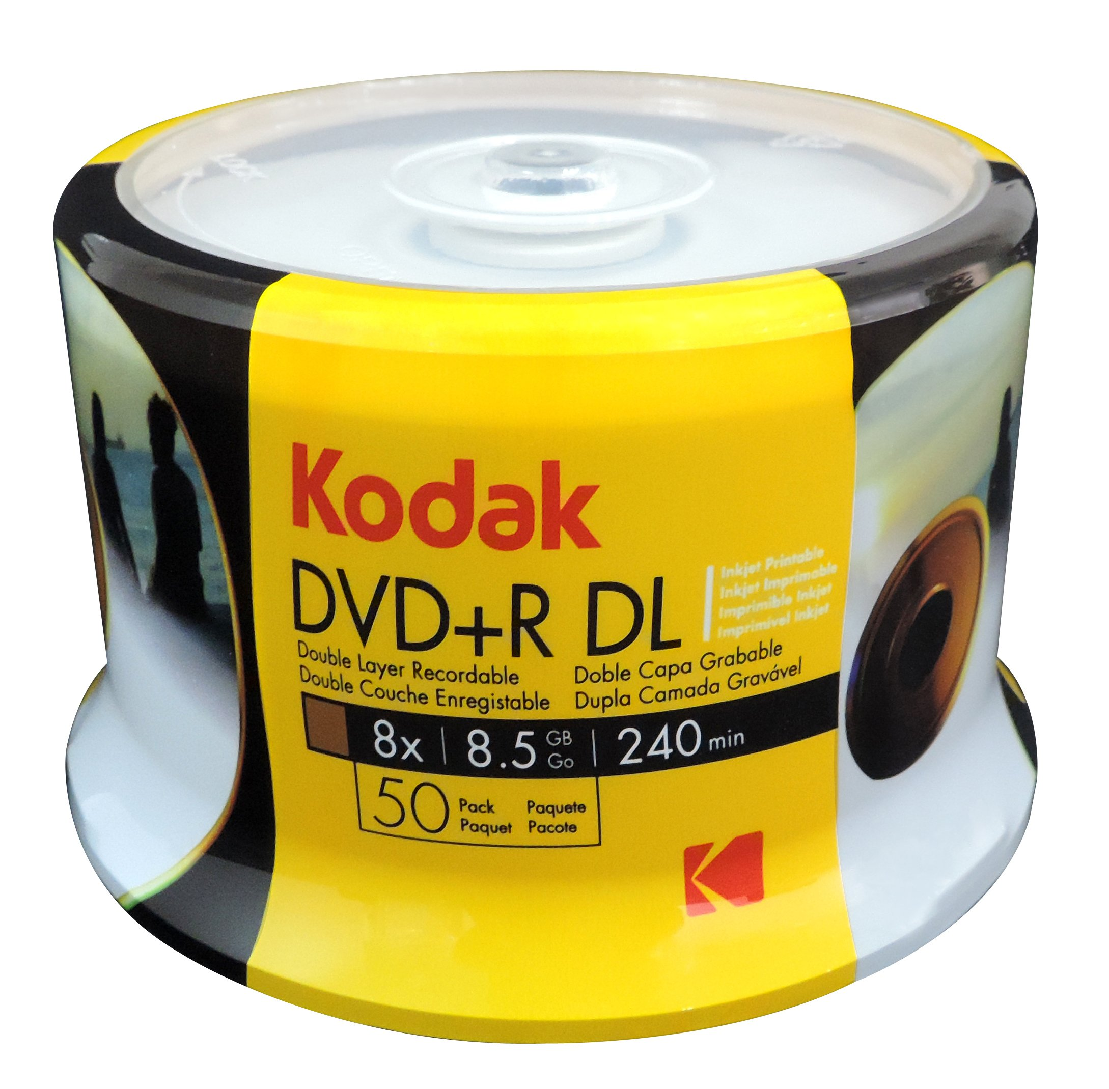 KODAK DVD+R DL 8x 8.5GB 50-Pack Cakebox, White Inkjet Printable