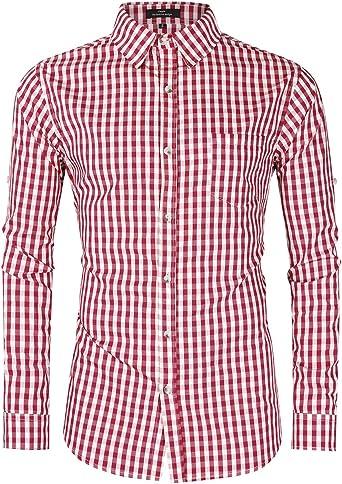 GloryStar - Camisa de Cuadros Alemana para Hombre con Botones