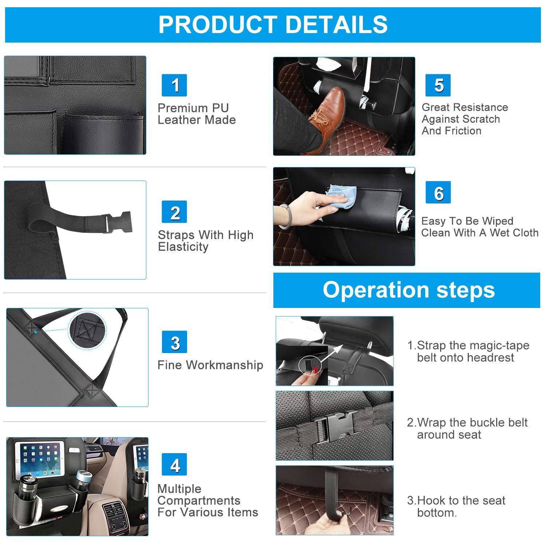 1 Pack, Black OTCPP Car Backseat Organizer PU Leather Car Seat Back Organizer for Travel with Baby Storage Bags iPad Holder