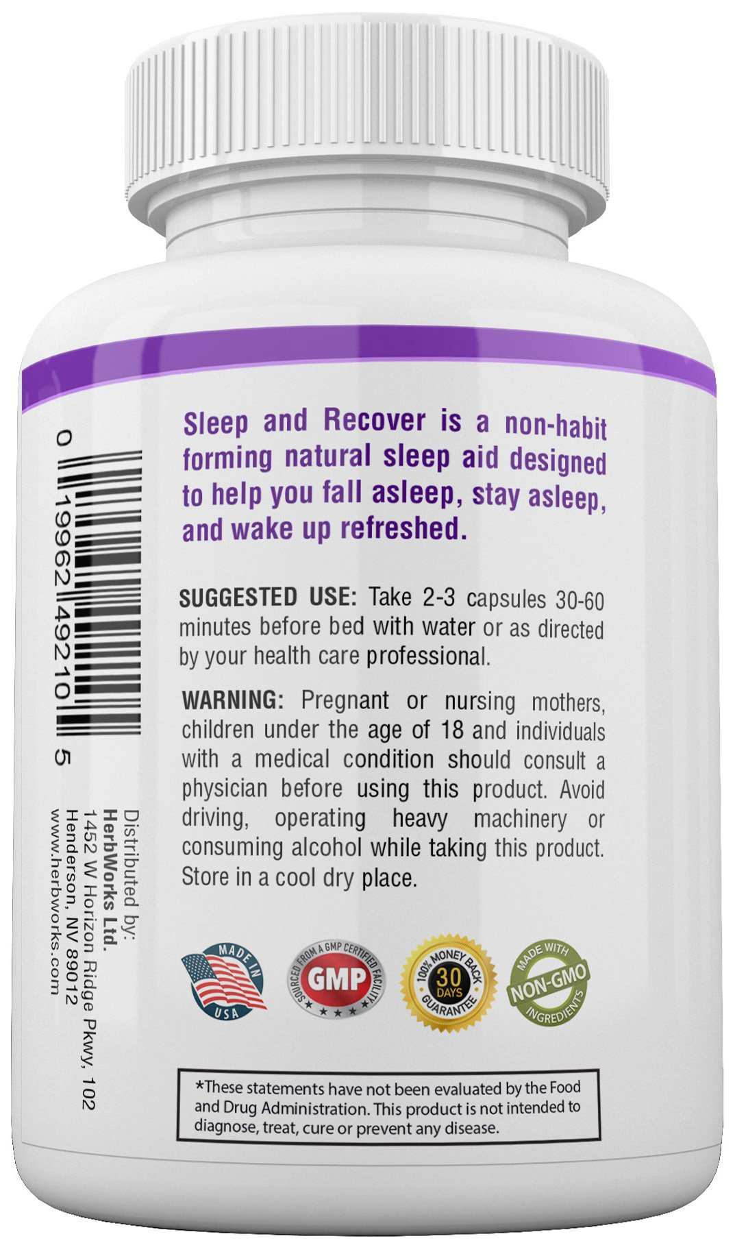 Sleep and Recover - Natural Sleep Aid - Non Habit Forming - 60 V-Capsules by HerbWorks (Image #4)