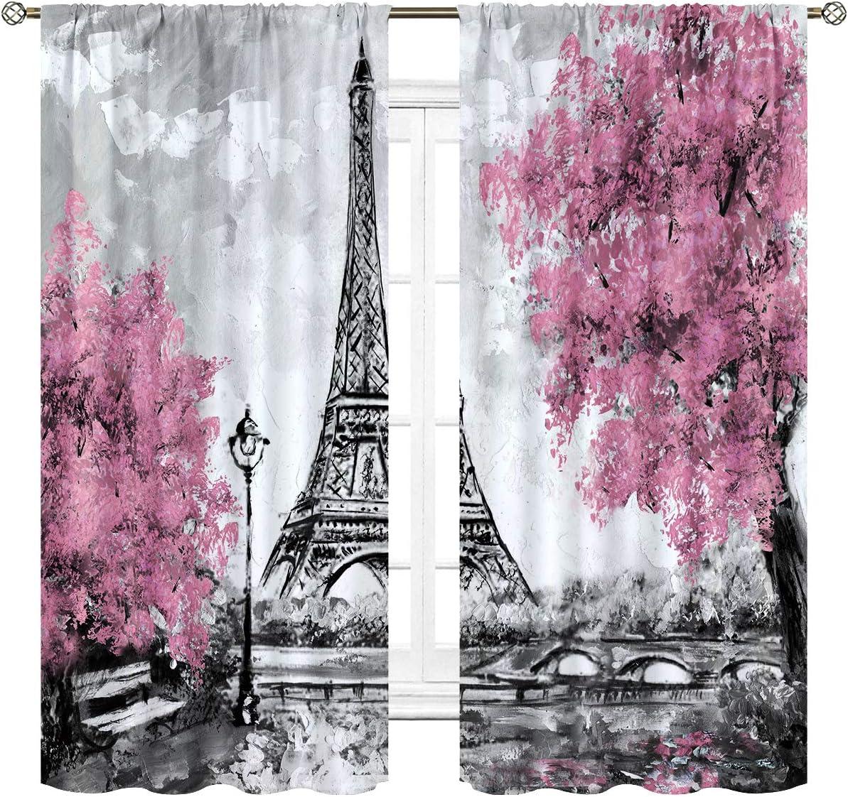 Cinblue Eiffel Tower Curtains Rod Pocket Paris Pink Trees Oil Painting European City Landscape France Art Printed Living Room Bedroom Window Drapes Treatment Fabric 2 Panels 42 (W) x 63(L) Inch