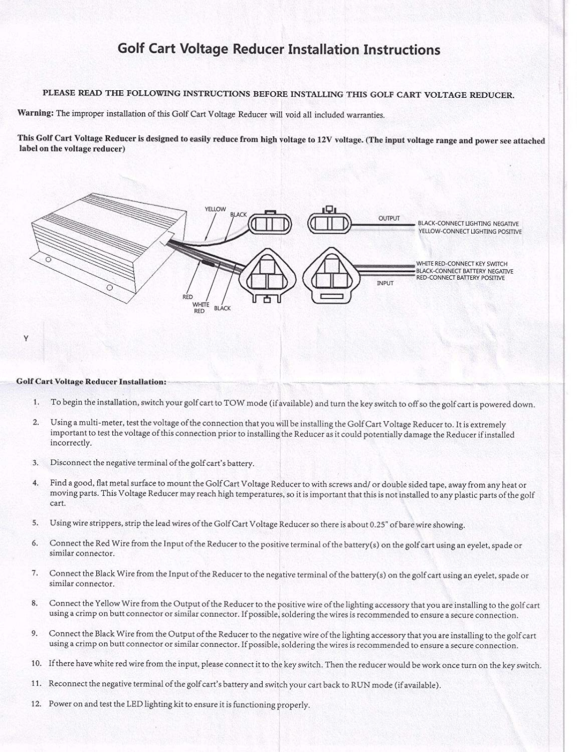 wiring diagram on golf cart amazon com: 3g voltage converter/reducer-  heavy duty for golf carts on