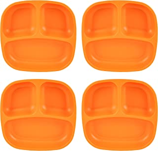 """product image for Re-Play Recycled Products Small Divided Plates, Set of 4 (7.375"""" Divided Deep Walled Plates, Orange)"""