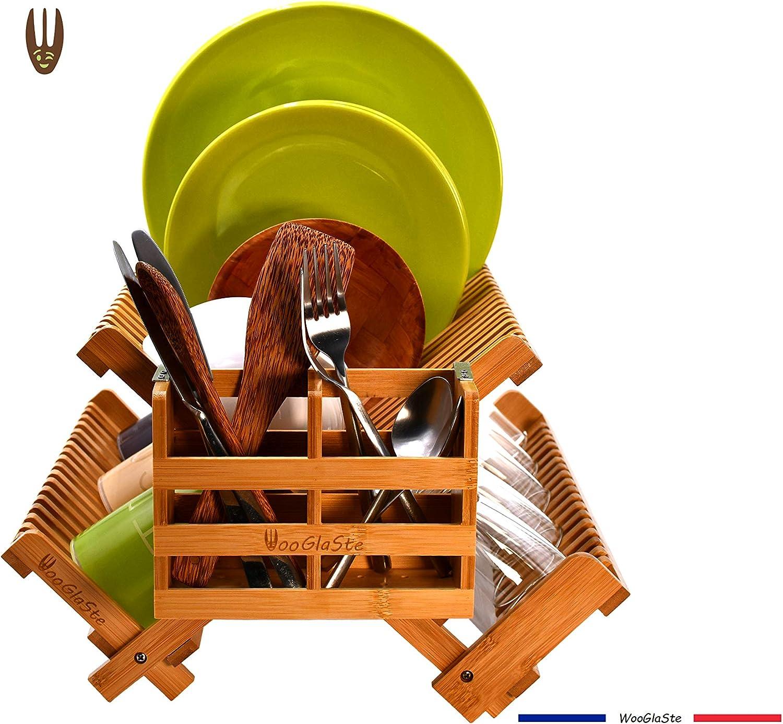 2 niveles laterales para platos vasos Plegable Titre 1 cesta para cubiertos Escurreplatos de madera de bamb/ú 4 soportes de almacenamiento 1 nivel superior WooGlaSte/®