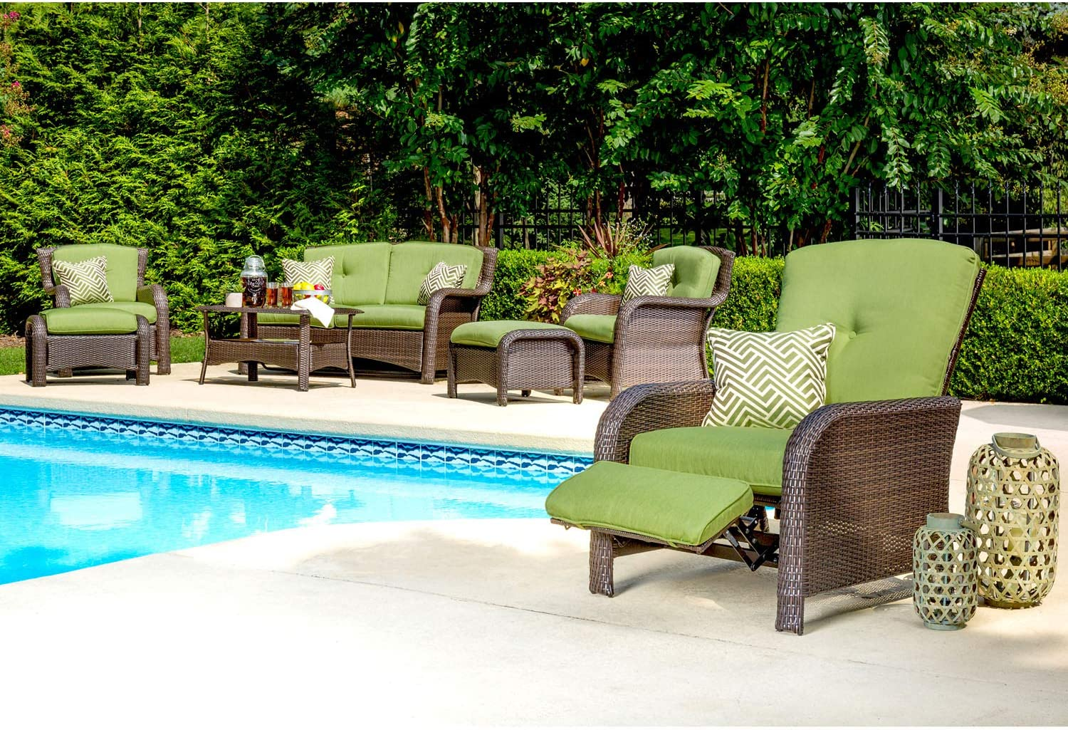 Hanover Strathmere Outdoor Luxury Recliner, Rich Brown/Cilantro Green