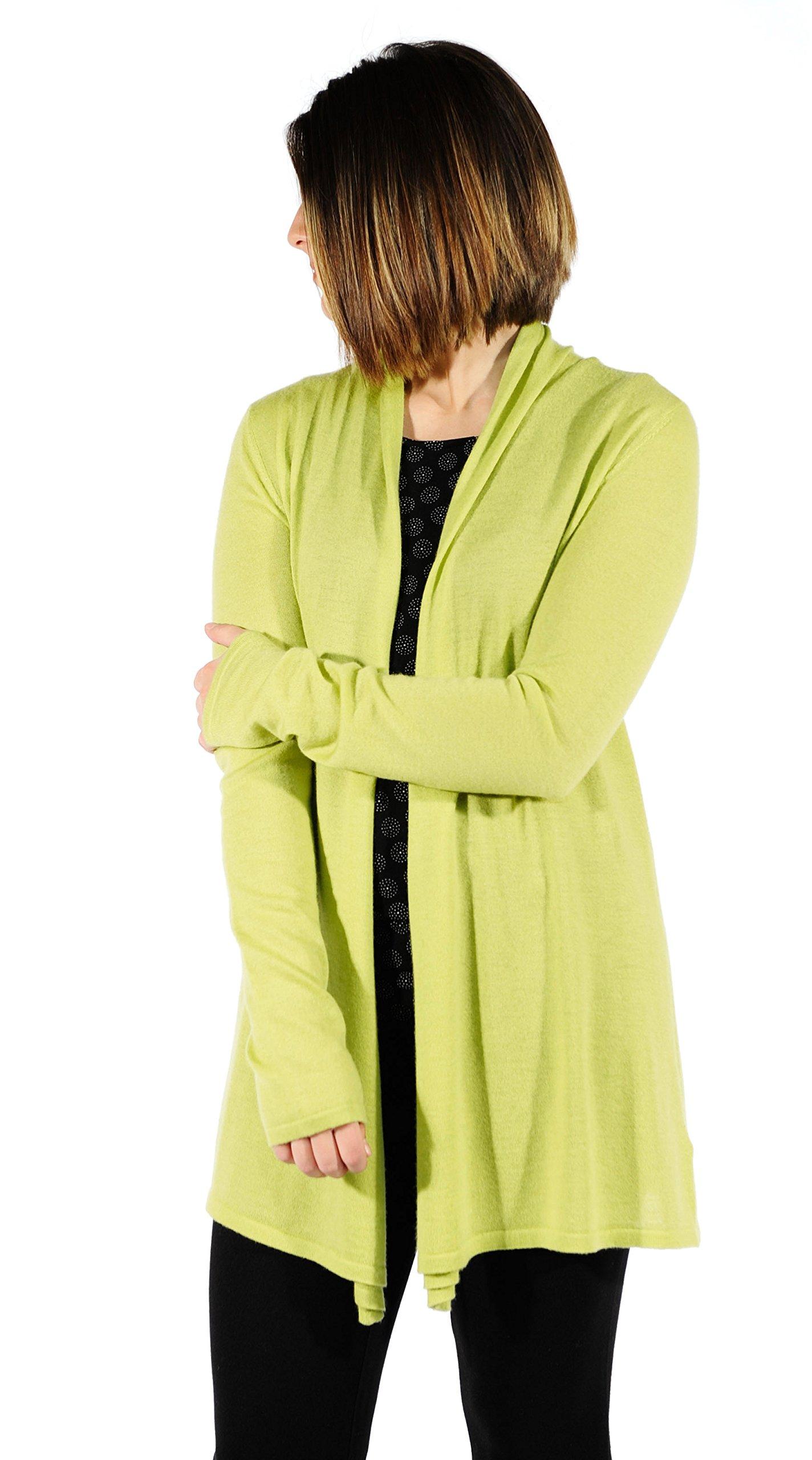 Gigi Reaume 100% Cashmere Women's Sweater, Open Front Long Cardigan, Swing Style, Ultra Lightweight (Medium, Lime)