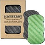 Konjac Sponge with Bamboo Charcoal and Green Tea – 2 Pack - 100% Natural Charcoal and Green Tea Body Sponges Each with Attached String for Hanging to Dry (2)