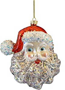 Kurt Adler Glass Santa Head Ornament