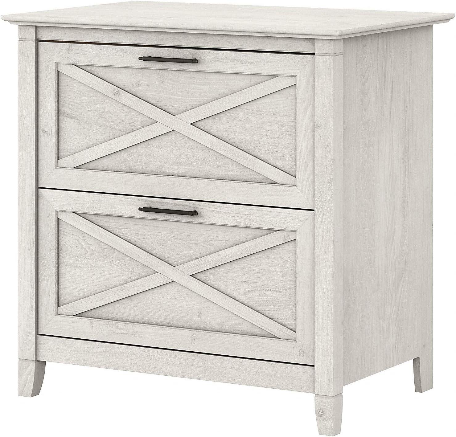 Bush Furniture Key West 2 Drawer Lateral File Cabinet, Linen White Oak