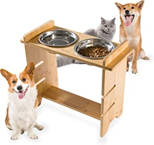 Qucey Pet Raised Bowls for Dogs and Cats, Bamboo Elevated Dog Feeder Stand 3 Heights Adjustable with 2 Stainless Steel Food Bowl
