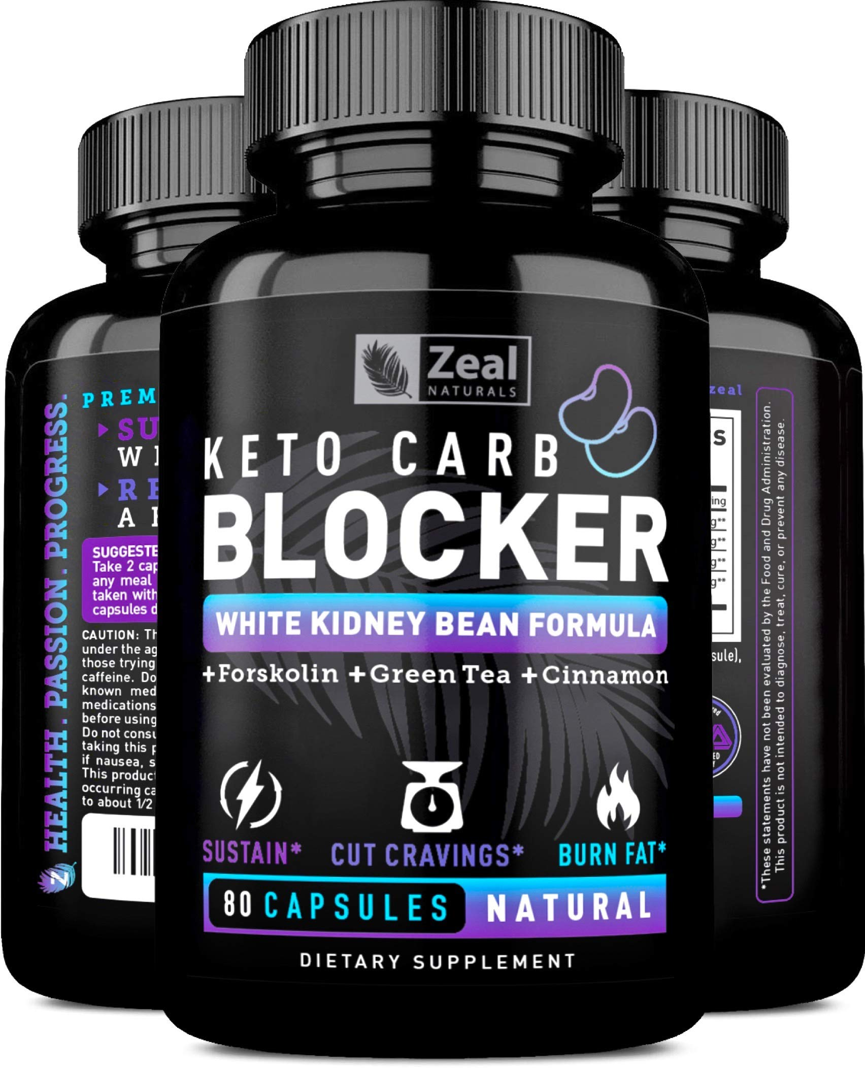 KETO White Kidney Bean Carb Blocker + Forskolin (40 Servings) White Kidney Bean Extract & Forskolin for Weight Loss w Green Tea - Keto Diet Carb Blockers Weight Loss Pills - Keto Cheat Pills Keto Burn