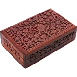 Mothers Day Gift Exotic Hand Carved Wooden Jewelry Trinket Box Keepsake Storage Organizer with Floral Patterns