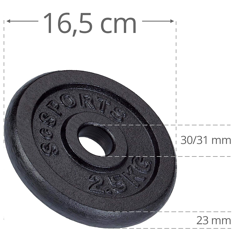 ScSPORTS 27,5 kg Hantelscheiben-Set Guss 6X 1,25 2X 5 kg Gewichte 30//31 mm Bohrung bestanden/¹ 4X 2,5 durch Intertek gepr/üft