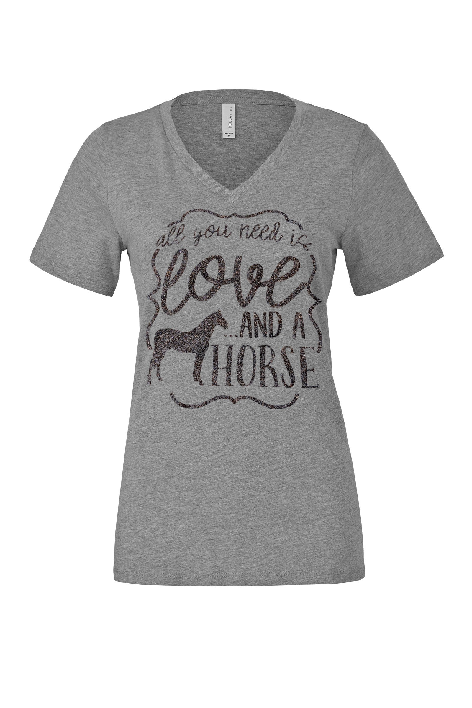 Loaded Lids Women's, Horse, All You Need is Love and a Horse, V Neck T-Shirt (Large, Grey/BlackGlitter)