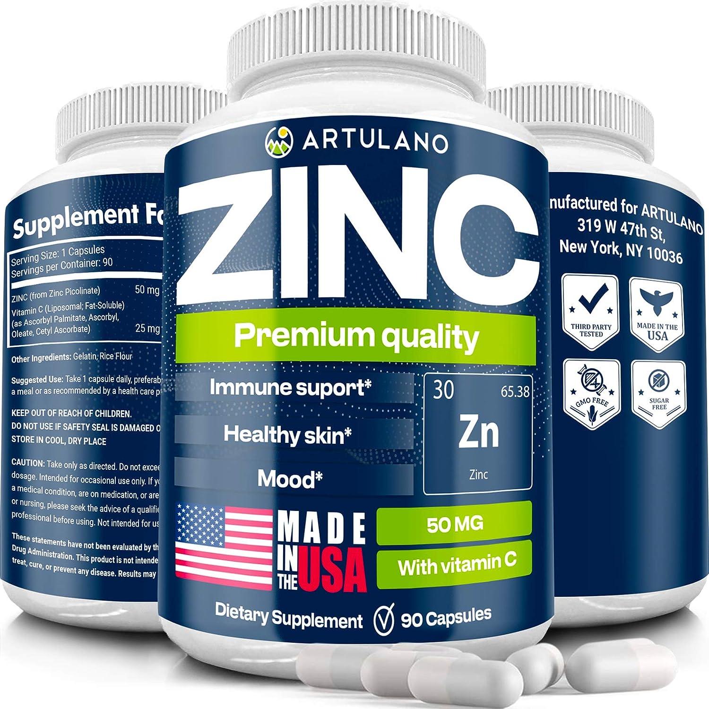 Zіnс Picolinate 50Mg with Vіtаmіn C for Immune Support Booster - Zіnс Supplement for Men, Women, Kids - Good for Skin, Hair, Mood & Sleep - Made in USA - 90 Capsules