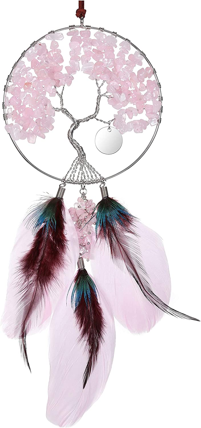 Top Plaza Rose Quartz Gemstones Reiki Healing Crystals Tree of Life Feather Hanging Ornament Home Wall Decoration for Good Luck Yoga Meditation Protection