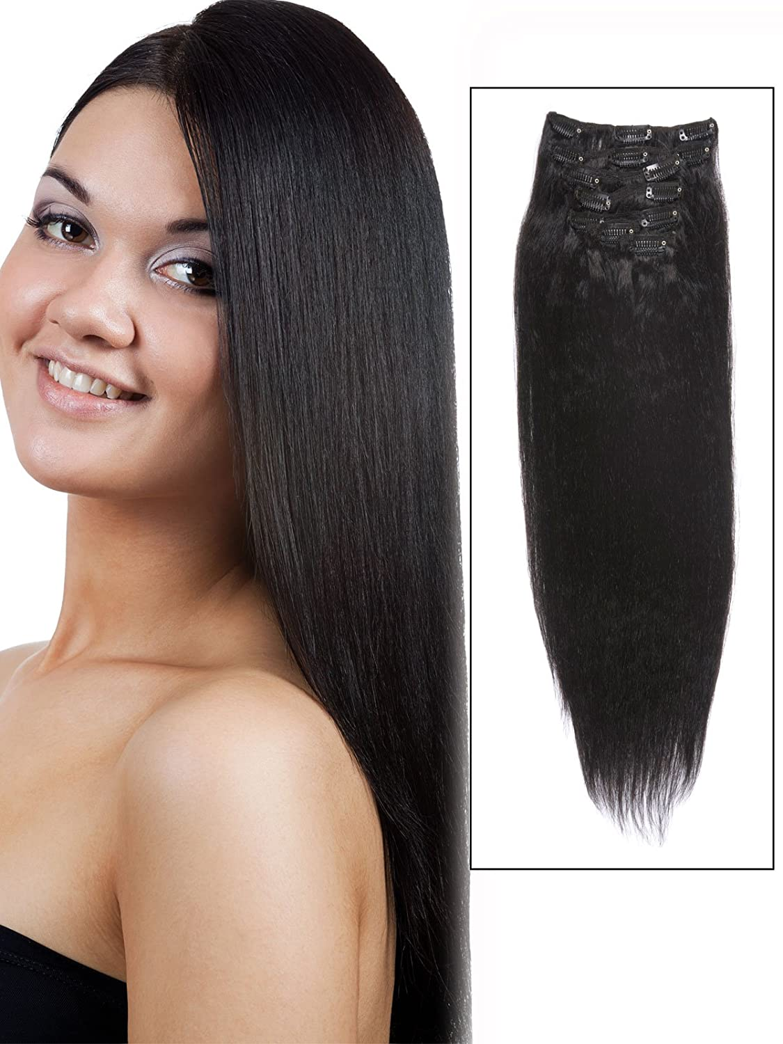 Amazon abhair cheap real short clip in remy human hair amazon abhair cheap real short clip in remy human hair extensions 14 inch natural blackoff black 7 piece 60g yaki for women beauty hair replacement pmusecretfo Image collections