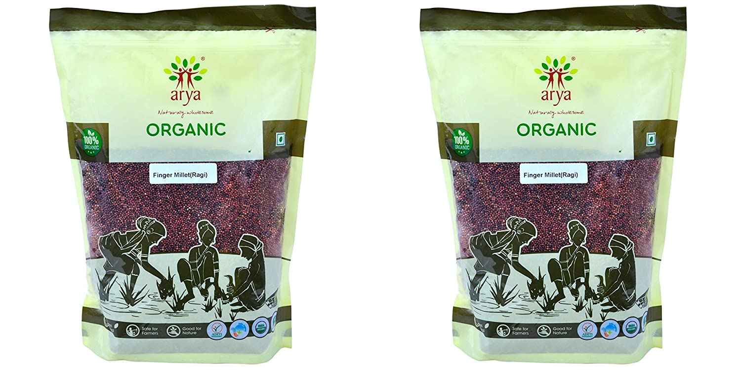 Arya Farm Organic Finger Millet, Whole Ragi ,1 kg - (Pack of 2)
