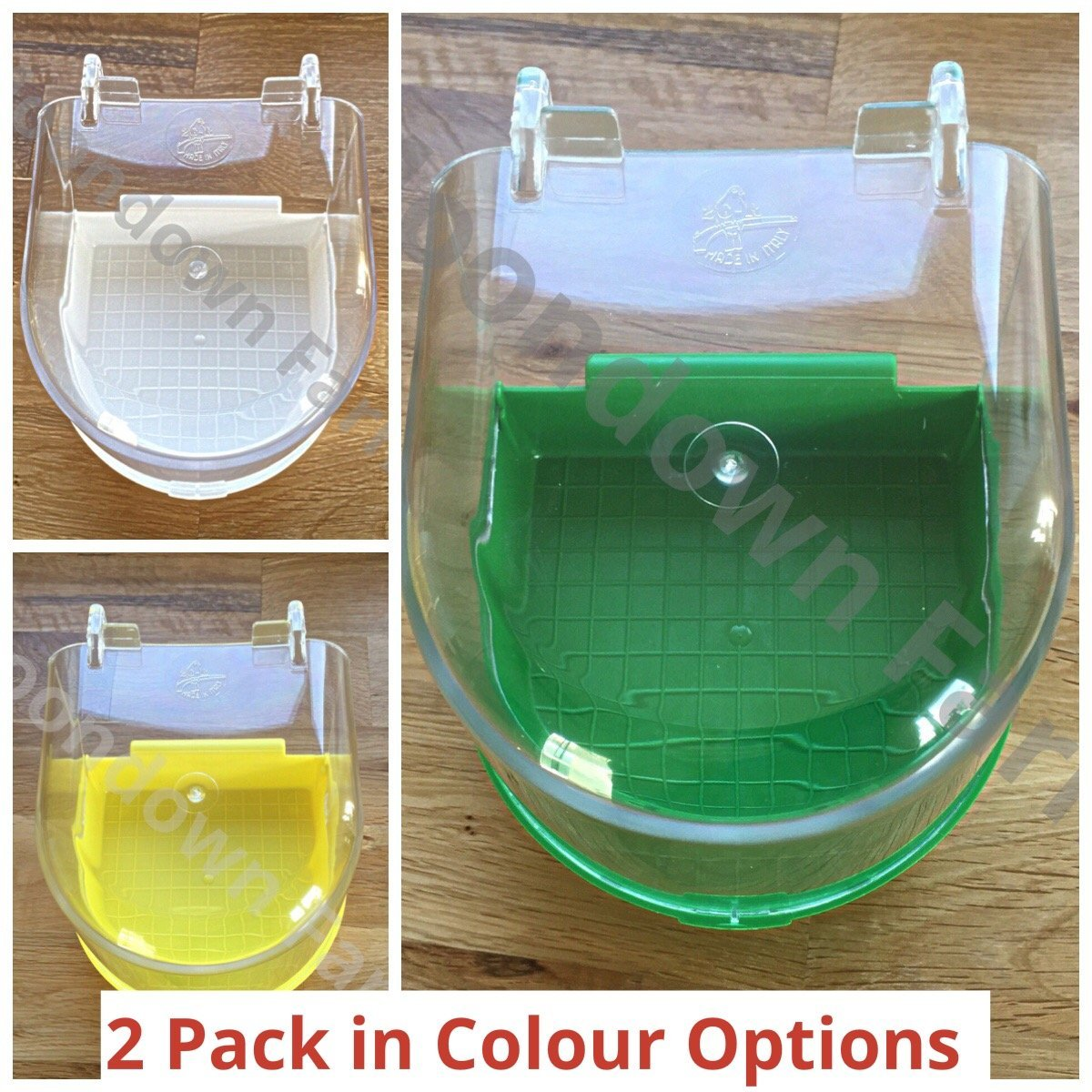 Moondown Farm Bird Bath 2 Pack in Colour Options for Cage/Aviary Finch, Canary (Green)