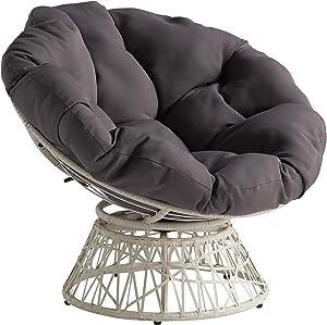 OSP Home Furnishings Wicker Papasan Chair with 360-Degree Swivel, Cream Frame with Grey Cushion