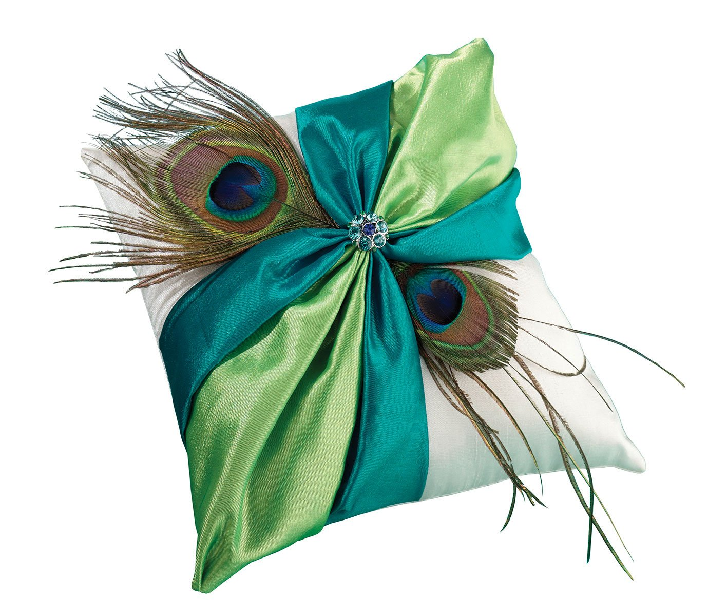Lillian Rose Peacock Feather Blue Green Wedding Ring Pillow by Lillian Rose