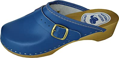 HOLZ (e) CLOGS - Pantolette Gr.38 BLAU Echt Leder (Made in Poland 20-6-5-62/39)