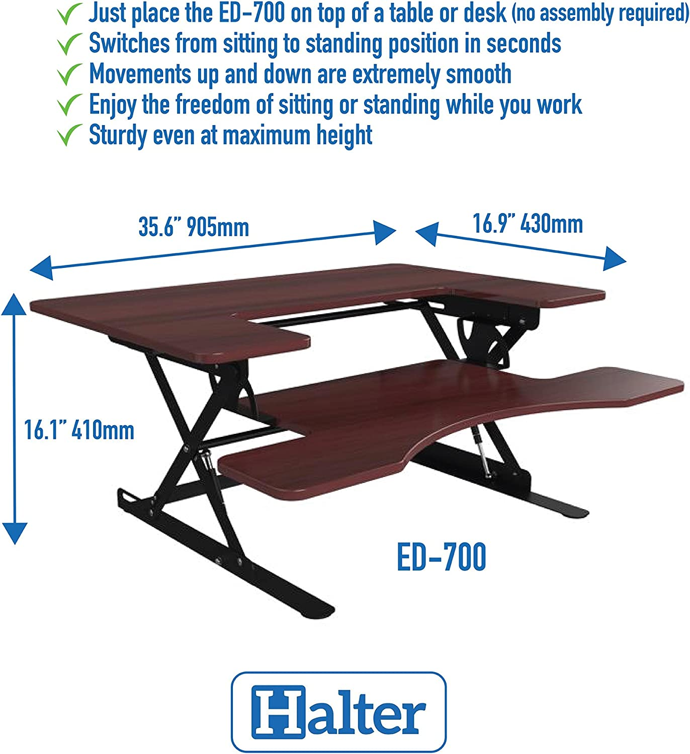 Halter ED-700 Preassembled Height Adjustable Desk Sit/Stand Elevating Tabletop Desktop - Cherry …