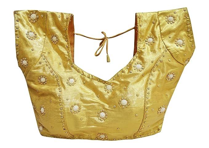 PEEGLI Blusa con Estampado De Choli Acolchado Y Blusa Acolchada De Sari para Mujer: Amazon.es: Ropa y accesorios