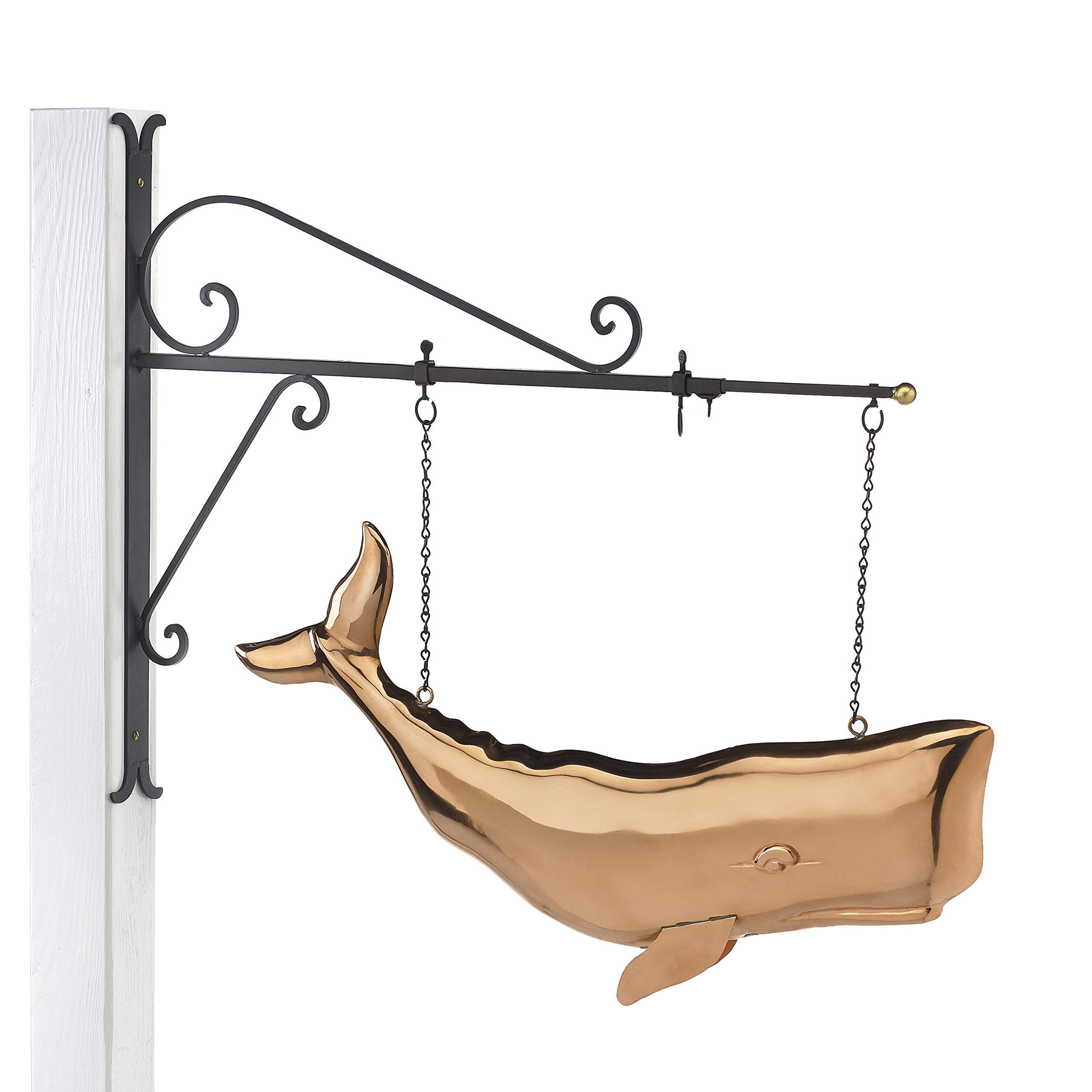 Good Directions Hanging 28'' Whale Pure Copper Weathervane Sign with Decorative Scroll Wall Bracket - Welcome Sign, Home / Entrance / Entryway Décor