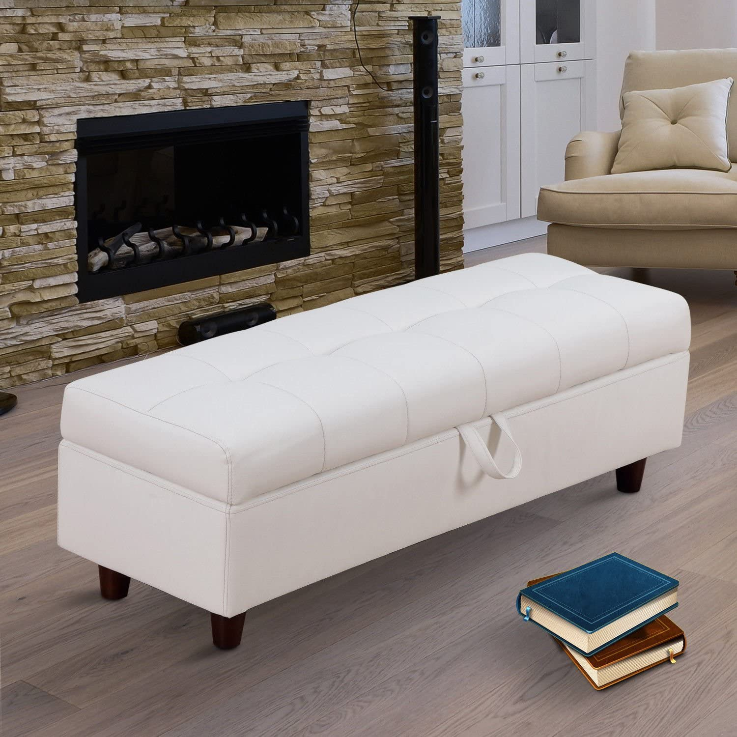White HOMCOM 46 Storage Ottoman Stool Bench in PU Leather for Bed End or Hallway