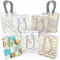 ARTEZA Gift Bags 9.5X7X3.4, Set of 15 Bags (5 White Designs, 3 Pieces in Each Style), Perfect for Any Holiday…