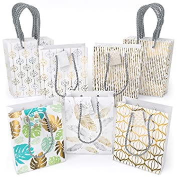 ARTEZA Bolsas de regalo | 24 x 17,8 x 8,6 cm | Pack de 15 | 5 diseños distintos x 3 | Fondo blanco | Bolsas para regalo de cumpleaños y fiestas
