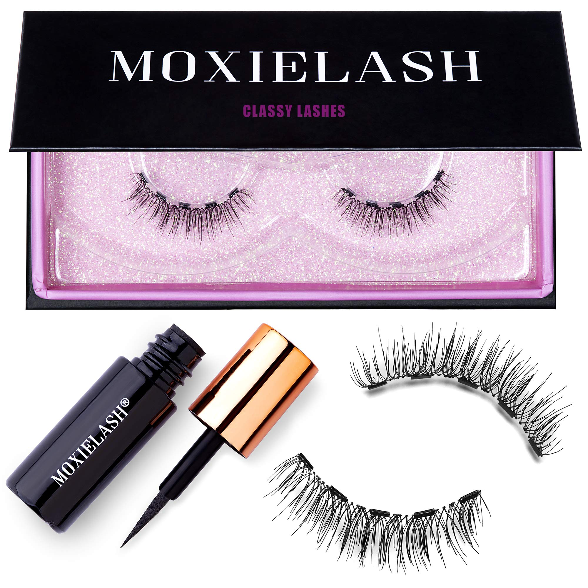 MoxieLash Classy Kit - Magnetic Liquid Eyeliner for Magnetic Eyelashes - No Glue & Mess Free - Fast & Easy Application - Set of Classy Lashes & Instruction Card Included by MoxieLash
