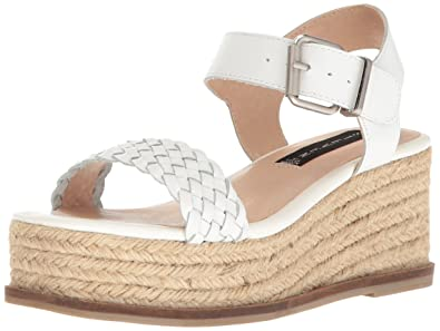9dcbcdace39 STEVEN by Steve Madden Women s Sabble Wedge Sandal White Leather 8.5 M US