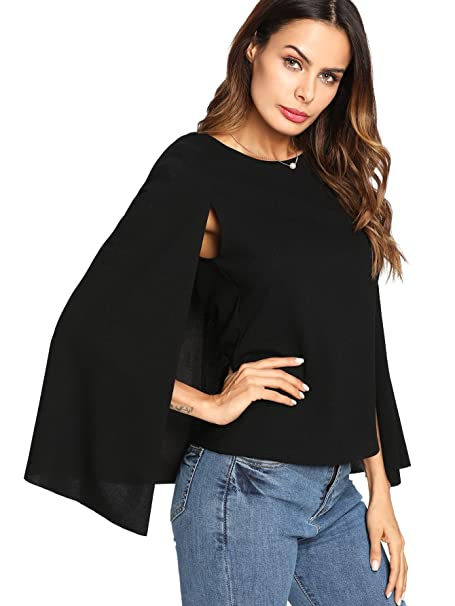 04437a6e3a6f0c Romwe Women s Elegant Cape Cloak Sleeve Round Neck Party Top Blouse Black X -Samll