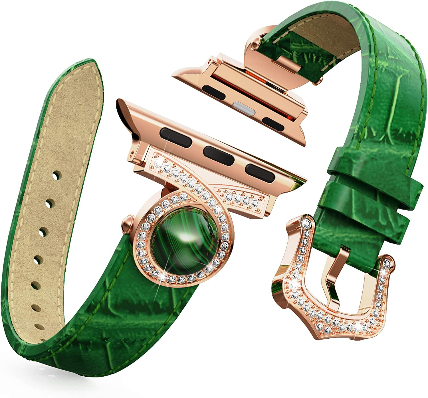 BaiHui Thin Leather Watch Band Compatible with Apple Watch 42mm 44mm Series 6/SE/5/4/3/2, Genuine Leather with Bling Crystal Diamonds Replacement Watch Strap for Women/Girls